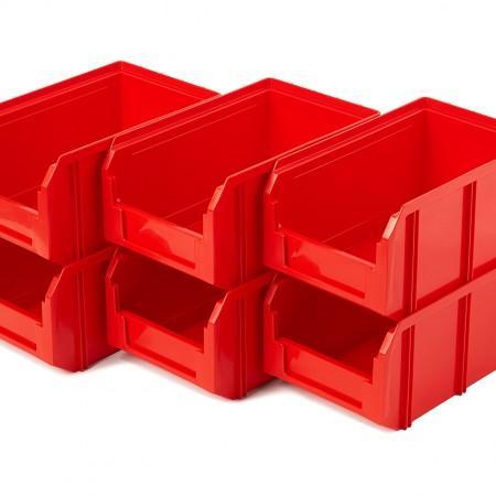 Пластиковый ящик Стелла-техник V-2-К6-красный - Архивное и складское оборудование