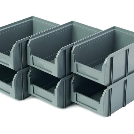 Пластиковый ящик Стелла-техник V-2-К6-серый - Архивное и складское оборудование