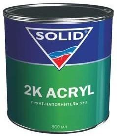 331.0963 SOLID2K ACRYL наполнительный грунт 5+1, серый в комплекте с отвердителем (800+160 мл) - Архивное и складское оборудование